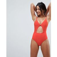 Lost ink textured keyhole cut out swimsuit - red