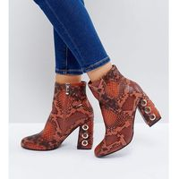 The March Tan Snake Eyelet Detail Heeled Ankle Boots - Tan