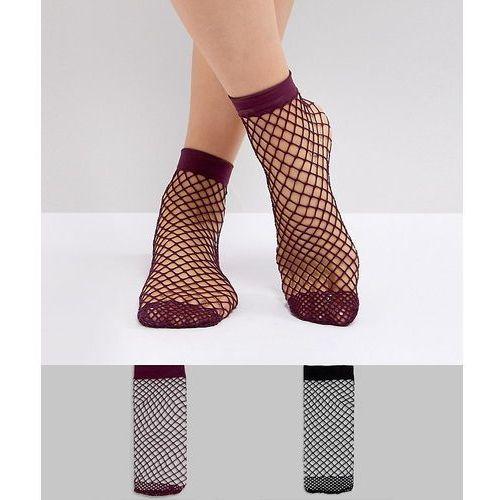 Asos design Asos 2 pack oversized fishnet socks in black and berry - multi