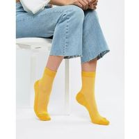 ASOS DESIGN plain ribbed ankle socks - Yellow