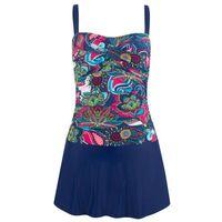 Sukienka kąpielowa bonprix niebiesko-czerwony z nadrukiem