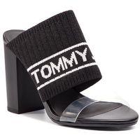 Klapki - knit tommy jeans heeled sandal en0en00532 black 990, Tommy jeans, 36-41