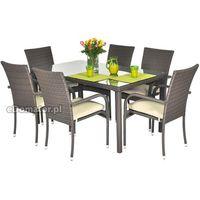 Krzesło ogrodowe z technorattanu MALAGA - brązowe - brązowy