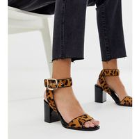 River Island block heeled sandals with ankle strap in leopard print - Brown