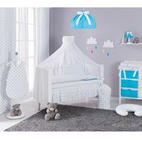 dwustronna rozbieralna pościel 12-el gwiazdki szare i niebieskie / niebieski do łóżeczka 70x140cm - moskitiera marki Mamo-tato