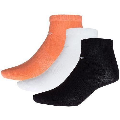 4f Skarpetki damskie (3 pary) sod002 - biały + czarny + koral neon