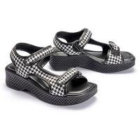 321 295 (82) black plaid, sandały damskie - biały ||czarny marki Azaleia