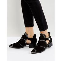 cut out studded ankle boots - black, Missguided