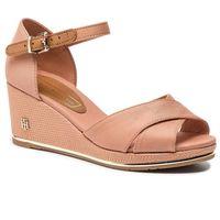 Espadryle TOMMY HILFIGER - Feminine Mid Wedge Sandal Basic FW0FW04077 Silky Nude 297, kolor brązowy