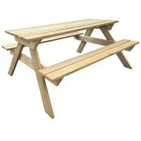 Vidaxl drewniany stół piknikowy z ławkami 150 x 135 71,5 cm (8718475948681)