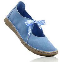 Baleriny skórzane bonprix niebieski, kolor niebieski