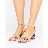 london marble metallic gem block heeled sandals - gold marki Dune