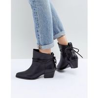 Hudson London Macha Black Leather Mid Heeled Ankle Boots - Black, ankle
