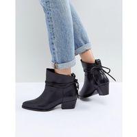 london macha black leather mid heeled ankle boots - black, Hudson