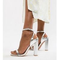 silver block heel ankle strap sandals - silver, Lost ink wide fit