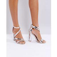 Miss kg asymmetric block heeled metallic sandal - silver