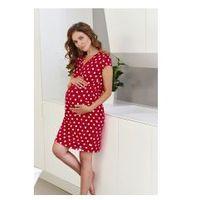 Koszula nocna ciążowa i do karmienia DN - Czerwona Kropki, kolor czerwony