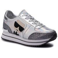 Sneakersy - kl61932 silver lthr/ textile, Karl lagerfeld