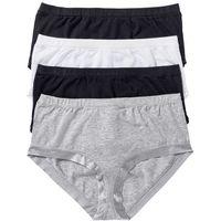 """Figi """"maxi panty"""" (4 pary) czarny + biały + jasnoszary melanż marki Bonprix"""