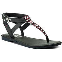 Japonki - flat sandal gingham pattern en0en00213 midnight 403 marki Tommy jeans