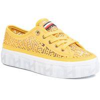 Sneakersy TOMMY HILFIGER - Monogram Flatform Sneaker FW0FW04698 Sunny ZEK, kolor żółty