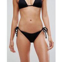 Boohoo Mix & Match Ribbed Strap Side Bikini Brief - Black, kolor czarny