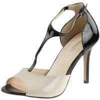 Sandały na obcasie 210 - czarno-pudrowe 112271+6l marki Mateo