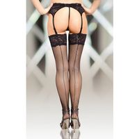 Softline collection Stockings 5537 - black pończochy kabaretki do paska ze szwem