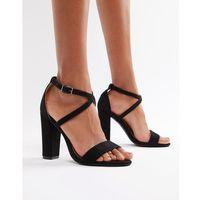 cross strap block heeled sandals in black - black marki Glamorous