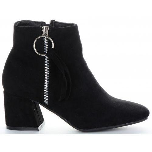 Klasyczne i eleganckie botki damskie firmy bellucci czarne (kolory) marki Belluci