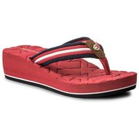 Japonki TOMMY HILFIGER - Comfort Mid Beach Sandal FW0FW02367 Tango Red 611, w 5 rozmiarach