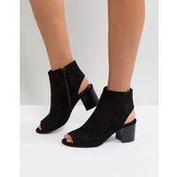 London Rebel Peep Toe Sandal - Black