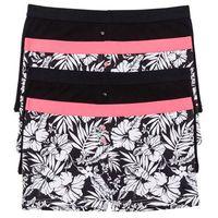Bokserki damskie (4 pary) bonprix czarno-biało-różowy neonowy, kolor czarny