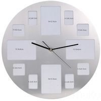 Zegar ścienny z ramkami na 12 zdjęć, chromowany, ⌀ 40 cm marki Emako