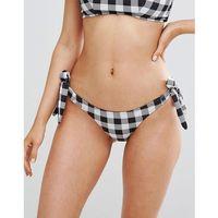 Lost ink gingham tie side bikini bottom - multi