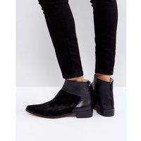Intentionally Blank Dallas Black Leather Flat Ankle Boots - Black, ankle