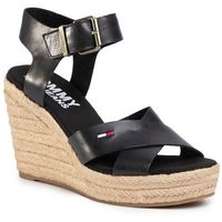 Espadryle TOMMY JEANS - Natural Wedge Sandal EN0EN00912 Black BDS