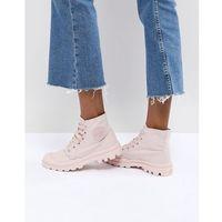 Palladium Pampa Monochrome Pink Textile Flat Ankle Boots - Pink, kolor różowy