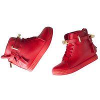 BOTKI CZERWONE Sneakersy na koturnie KŁÓDKA, kolor czerwony