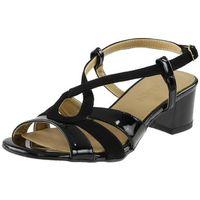 Sandały Sagan 53221 Czarne lakier, kolor czarny