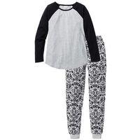 Piżama bonprix jasnoszary melanż- czarny z nadrukiem