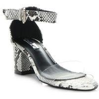 Belluci Modne sandały damskie na obcasie w motyw węża firmy bellucci biało-czarne (kolory)