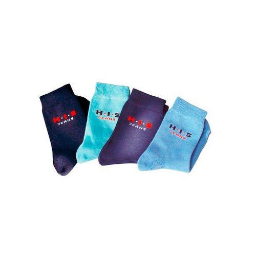 Bonprix Skarpety h.i.s (4 pary) niebieski + pastelowy niebieski + głęboki niebieski + ciemnoniebieski