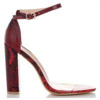 Belluci Modne sandały damskie na obcasie w motyw węża czerwone (kolory)