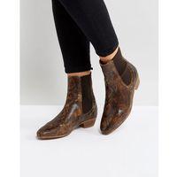 Hudson London Kenny Tan Snake Ankle Boots - Tan