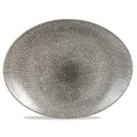 Talerz owalny 317 x 255 mm | CHURCHILL, Raku Quartz Black