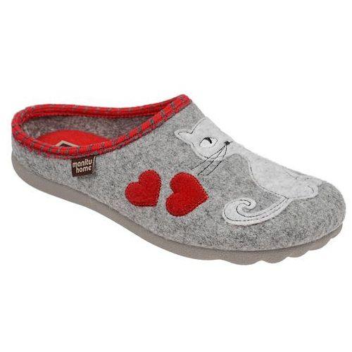 Kapcie Pantofle domowe Ciapy MANITU 320515-91 Popielate - Szary ||Popielaty ||Czerwony, kolor szary