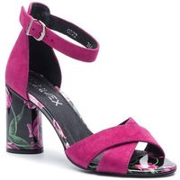 Sandały ANN MEX - 0222 02WF+02CR Różowy Welur, kolor różowy
