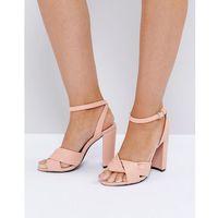 twist front dusky pink block heeled sandals - pink marki The march