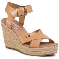 Tommy jeans Espadryle - natural wedge sandal en0en00912 dusty bronze gqe
